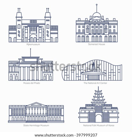 Monuments thin line vector icons. Amsterdam state museum, Somerset House, The National Art Center, State Hermitage Museum, National Folk Museum of Korea. Famous world museums. - stock vector