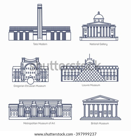 Monuments thin line vector icons. Tate Modern, National Gallery, Gregorian Etruscan Museum, Louvre, Metropolitan Museum of Art, British Museum.  Famous world museums. - stock vector