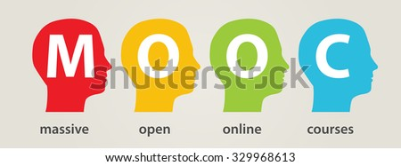 mooc heads, Massive Open Online Courses - stock vector