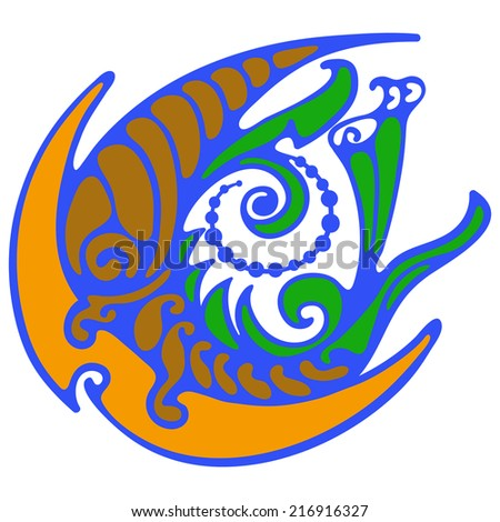 Moon - abstract symbol. Symbolic image of a planet with decorative, twisted, vortex - stock vector