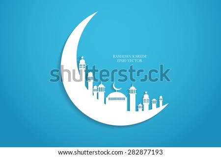 Moon, Abstract view of Mosque or Masjid with shadow on moon, paper design, vector eps - stock vector