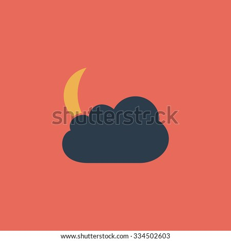 Moon and clouds. Colorful vector icon. Simple retro color modern illustration pictogram. Collection concept symbol for infographic project and logo - stock vector