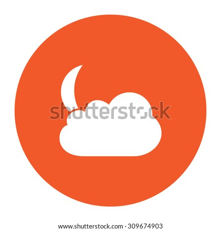 Moon and clouds. Flat white symbol in the orange circle. Vector illustration icon - stock vector