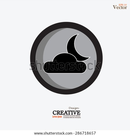 Moon and clouds icon.moon and cloud.night concept.vector illustration. - stock vector