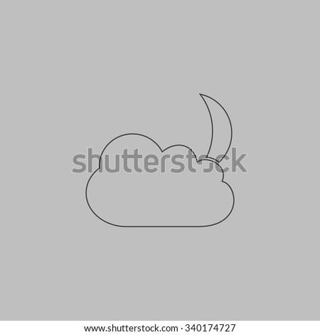 Moon and clouds. Outlne vector icon on grey background - stock vector