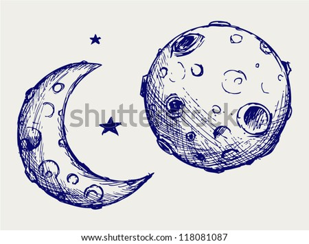 Moon and lunar craters. Doodle style - stock vector