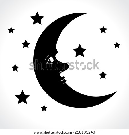 Moon and stars isolated on white background. Vector illustration. - stock vector