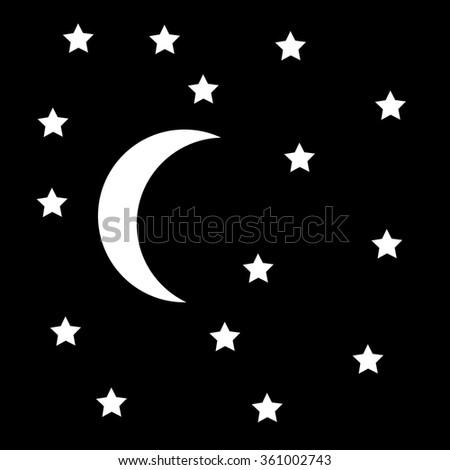 Moon and stars on night sky. Vector illustration. - stock vector