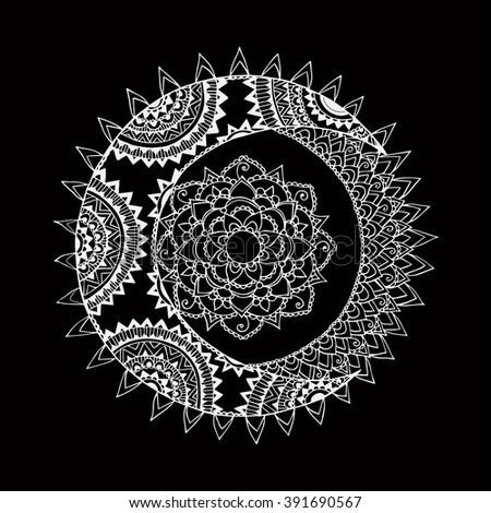 Moon and Sun on black background. Vector illustration - stock vector