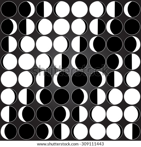 Moon background seamless pattern with different moon phases: new moon, crescent moon crest, quarter moon or half moon, gibbous, full moon Lunar seamless background Celestial black and white pattern  - stock vector