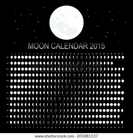 Moon calendar 2015 - stock vector
