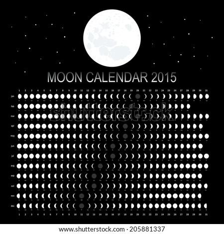 Moon calendar 2015 - stock vector