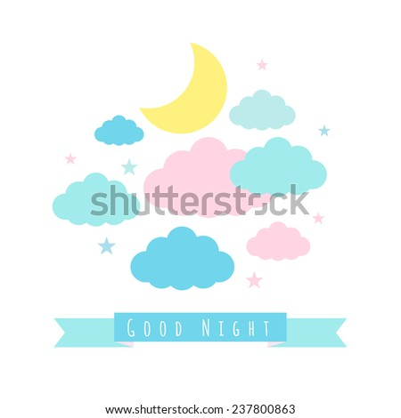 Moon, clouds and stars. Childish background with banner for text. Good night - stock vector