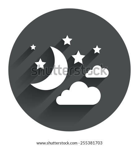 Moon, clouds and stars icon. Sleep dreams symbol. Night or bed time sign. Circle flat button with shadow. Modern UI website navigation. Vector - stock vector