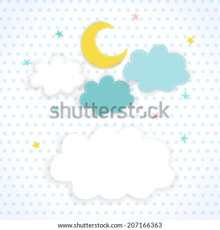 Moon, clouds and stars on the background fabric with polka dots. Children sweet vector background of the night sky with place for text. EPS 10 - stock vector