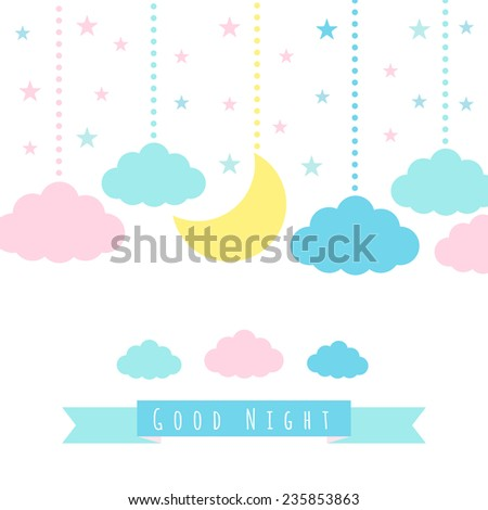 Moon, clouds, stars and banner for text. Childish background. Vector illustration for design - stock vector