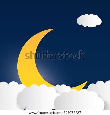 Moon, clouds. Sweet dreams wallpaper. - stock vector