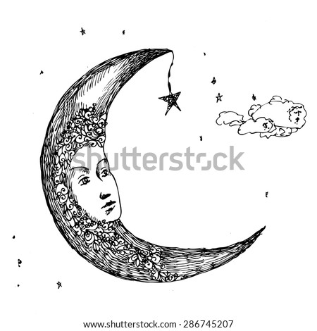 Moon. Drawing pen. Fabulous, the image of the heavenly moon.Sketch for a tattoo.  - stock vector