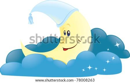 Moon in clouds - stock vector