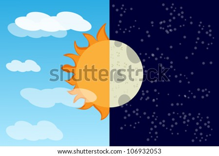 Moon meets the sun abstract background - stock vector