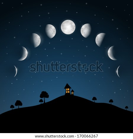 Moon Phases. Night Landscape with Trees and House. - stock vector