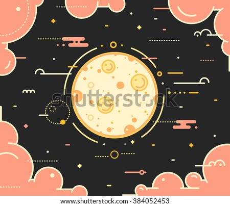 Moon planet with the clouds thin outline vector illustration on dark background. Space landscape with full moon in night sky with pink clouds and stars. Moon symbol concept in outline style - stock vector