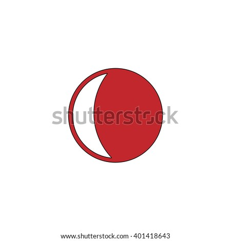 Moon. Red flat simple modern illustration icon with stroke. Collection concept vector pictogram for infographic project and logo - stock vector