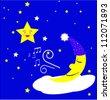 Moon sing - stock vector