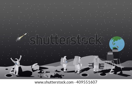 Moon space station vector illustration. Astronauts landing to moon concept.  - stock vector