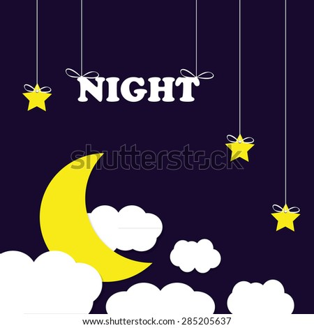 Moon with stars - stock vector