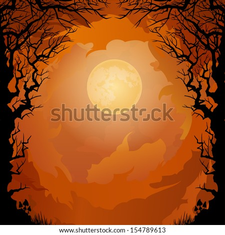 Moonlight Halloween background - stock vector