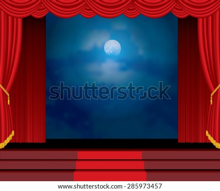 moonlight on red curtain stage with stairs - stock vector