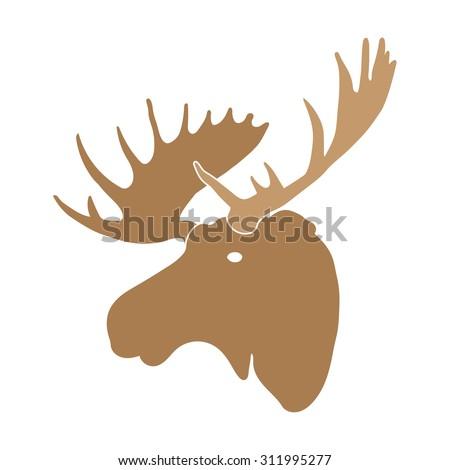 moose deer head - stock vector