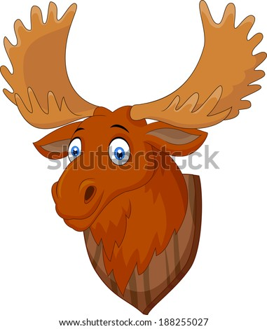 Moose head cartoon - stock vector