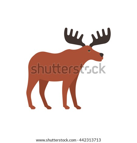 Moose icon. Side view - stock vector