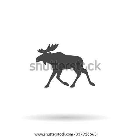 Moose. Icon Vector - stock vector
