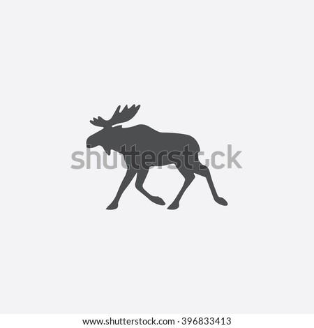 Moose Icon Vector.  - stock vector