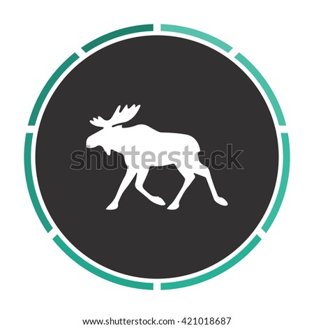 Moose Simple flat white vector pictogram on black circle. Illustration icon - stock vector