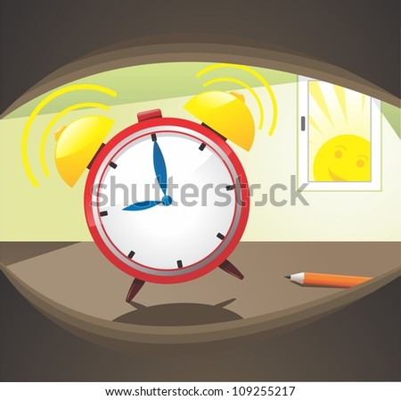 Morning alarm clock ringing - stock vector