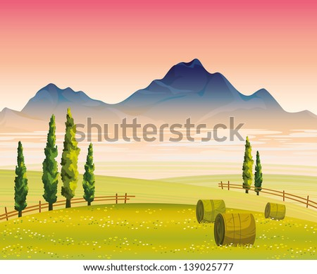 Morning autumn landscape with flowering green field, cypress trees and mountains with fog on a pink sky background - stock vector