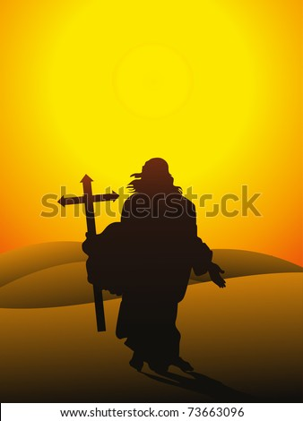 morning background with jesus christ holding cross, vector illustration - stock vector