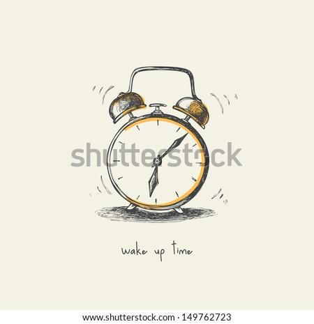 Morning clock - drawing - stock vector