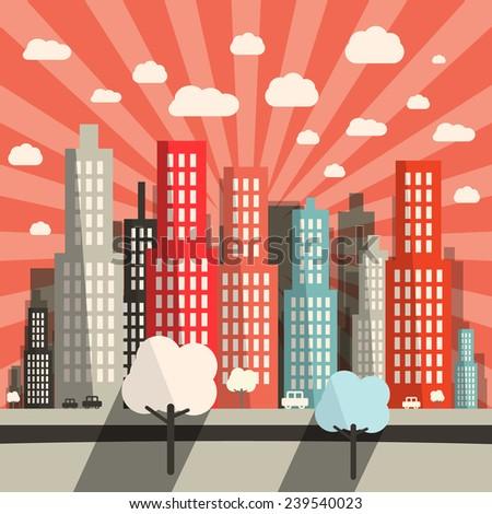 Morning - Evening Flat Design City Vector Illustration - stock vector