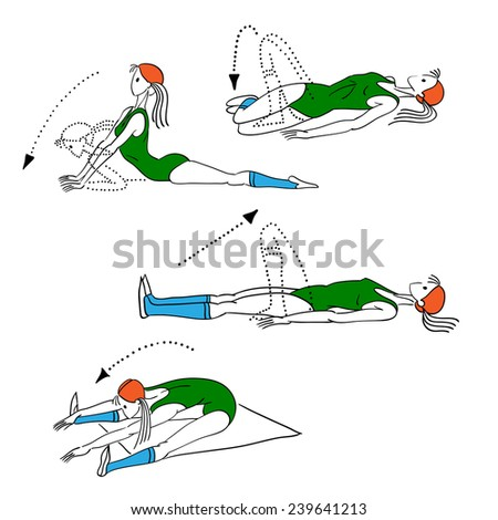 morning exercises, vector illustration, Pilates poses - stock vector