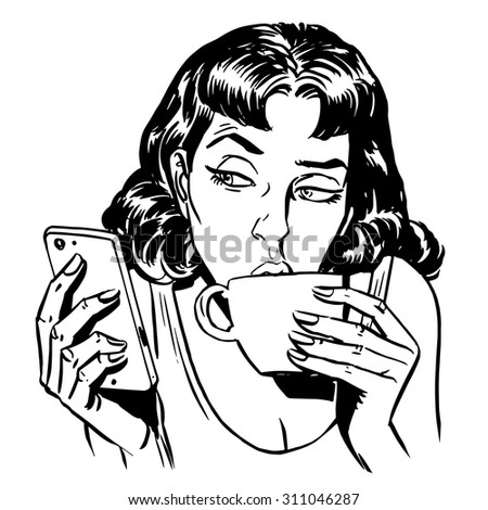 Morning girl coffee tea phone news communication technology smartphone line art retro style - stock vector