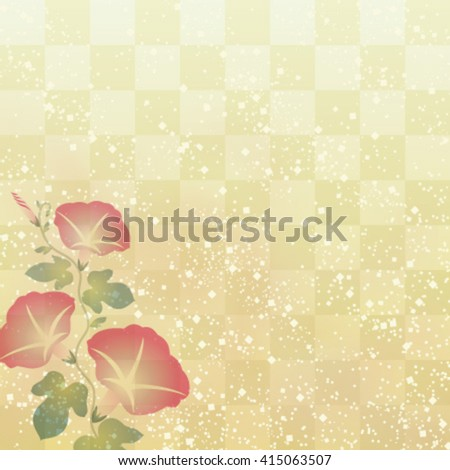 Morning glory on Japanese traditional background - stock vector