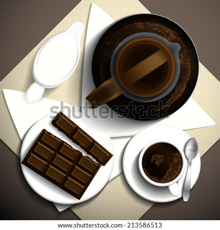 Morning invigorating coffee, milk and bar of chocolate on a white plate. Vector illustration. - stock vector