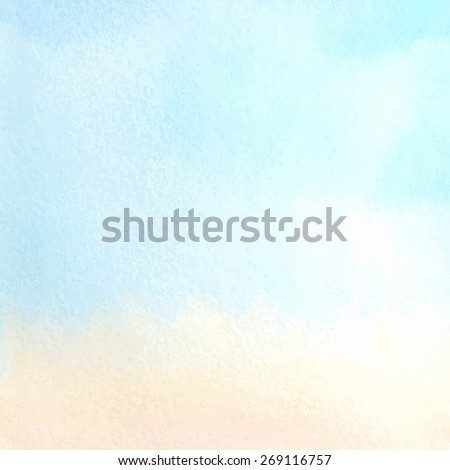 Morning sky. Sunrise. Pastel colors. Vector watercolor hand drawn background. - stock vector