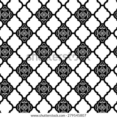 moroccan seamless pattern with abstract ornaments in black and white - stock vector