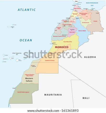 morocco administrative map - stock vector